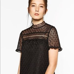 Zara women's high neck lace blouse